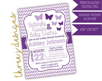 Butterfly Baby Shower Invitation - Plum and Lavender - Digital File - J004