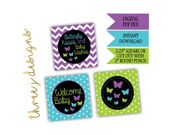 Butterfly Baby Shower Cupcake Toppers - INSTANT DOWNLOAD - Purple, Teal and Green - Digital File - J006