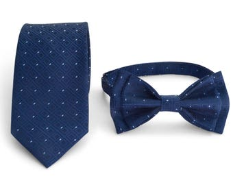Navy Polka Dot Necktie & Navy Polka Dot Bow Tie -- Father Son Matching Necktie Bow Tie