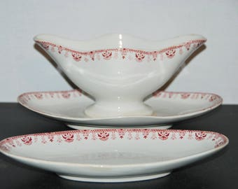 Vintage French ironstone gravy boat and butter dish,  with pretty pink transfer decor. Floral and leaves. Giens, Grenade model.