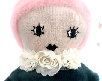 Louise - Beehive hair Rag Doll - Handmade Doll - embroidery design - modern cloth doll - scandinavian design - dots white pink heirloom doll