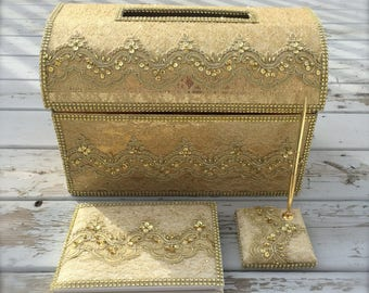 gold card box and guest book set, wedding card box, Money holder, moneybox, gold card box, guest book, signing book, gold box