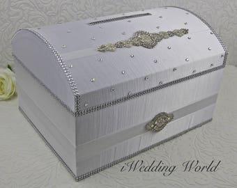 wedding Card Box, Money holder, envelope holder, silverbox, rhinestone trim, treasure chest