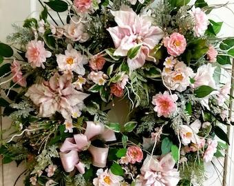 Pink Christmas Wreath, Shabby Chic Christmas Wreath, Pink Poinsettia Wreath, Pink Christmas Door Wreath, Christmas Door Wreath, Door Wreath