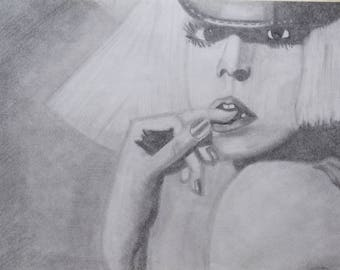 Original Art Lady Gaga Original Drawing Lady Gaga Pencil Art Original Art Wall Decor Original Art Lady Gaga Pencil Art Black White Fine Art