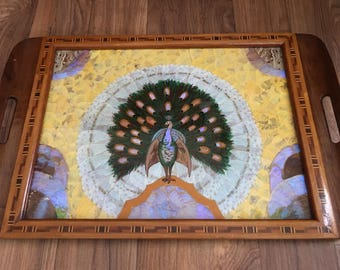 Hardwood marquetry tray with butterfly and moth wing inlaid decoration