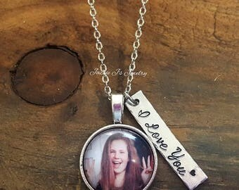 Personalized Photo Necklace, Picture Necklace, Photo Keepsake, Handstamped Necklace, Custom Necklace, Gift for Her, Gift for Him, I Love You