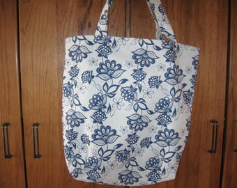 Blue and White Flower Tote