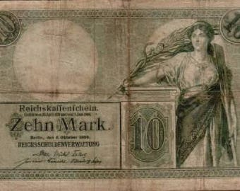 1906 Germany / German empire / Kaiser 10 Mark Banknote