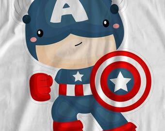 Little Heroes - Captain America - Iron On Transfer