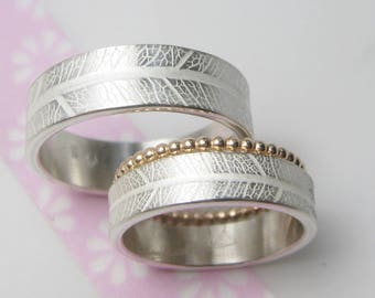 Silver wedding rings with leaf grain structure Gold Kügelchenring