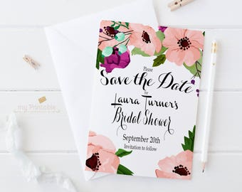 Save the Date Bridal Shower / Digital Printable Birthday Invite for Wedding / DIY Party