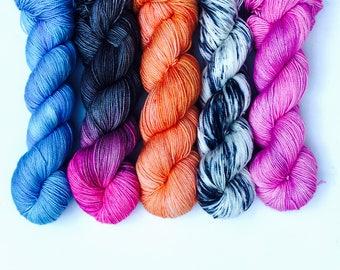 Hand dyed yarn. Moroccan Magique Shawl Kit. Sock weight. Merino. Gigi Bonin
