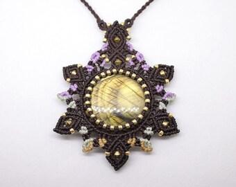 Labradorite macrium necklace, macrium necklace, gemstone necklace, mandala necklace, necklace, unique