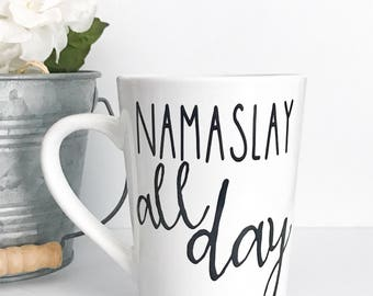 Clearance mug, Namaslay all day,14oz coffee mug, Imperfect Mug, coffee cup, yoga, namaste mug, yoga mug, girl boss, boss lady, boss mug, mug