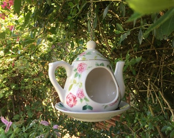 Hanging Tea Pot Bird Feeder
