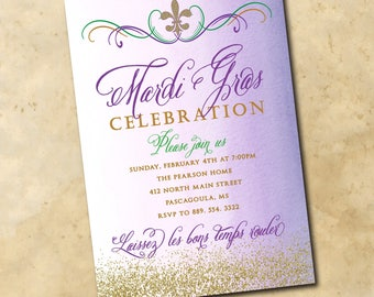 Mardi Gras Invitation printable/Digital File/mardi gras party, ball, glitter, mask, fleur de lis, beads, watercolor/Wording can be changed