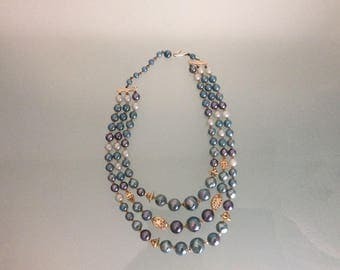 Vintage Necklace cadetblue plastic beads 3 Strands