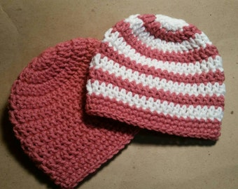 0-6 Month Matching Hat Set, Twin Newborn Hat Set, Crochet Newborn Twin Outfit, Knit Hats, Twin Girl Hats, Baby Shower Gift, Baby Girl Hat