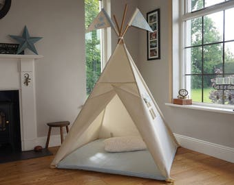 Teepee tent for kids. All poles included. Plain White Tent. Personalised flags. 3 sizes available. Simplicity Teepee handmade in Ireland.