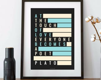 PLATO, Art Print, Plato Poster, LOVE quote, Plato Quotes, Philosophy, Philosophy Quote, Philosophy Gift, History teacher gift, Love Gift