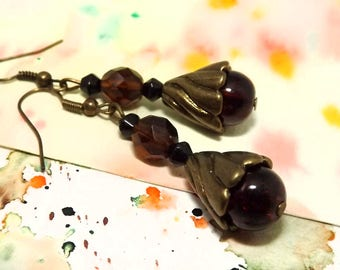 Antique bronze and brown dangle earrings - Brown bead earrings - Bohemian dangle earrings - Brown boho earrings - Bohemian bronze jewelry