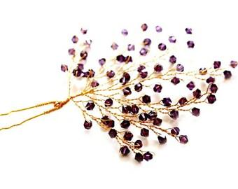 Gold Leaf & Twig Hairpin | Amethyst Crystal Boho Wedding Gold Leaf Hairpin Woodland Wedding Botanical Hairpin | Vine And Leaf Bridal Hairpin