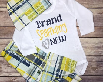 Brand Sparkling New Outfit Plaid Baby Boy Coming Home OUTFIT, Baby Boy Newborn Personalized Baby Gift, Baby Boy Clothes Monogram Clothes