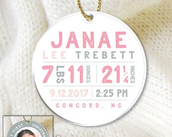 Baby Girl Ornament / Blush Pink Ornament / Personalized Gift / Birth Stats Ornament / My First Christmas Gift ▷ Pink and Gray Ornament