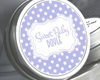 12 Personalized Rustic Sweet Dots Baby Shower Mint Tins - Baby Shower Favors - Baby Shower Candy - Baby Shower Decor - Baby Shower Mints