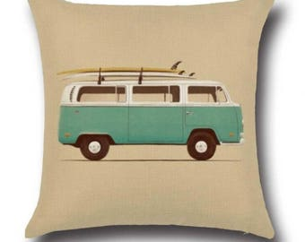Turquoise VW Campervan Vintage Retro Boho Bold Pillow Cushion Cover Linen Cotton Shabby Chic