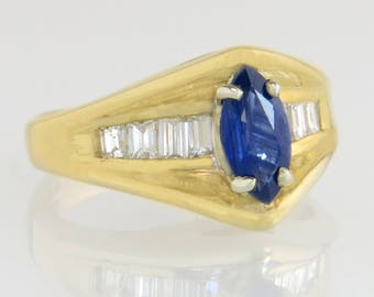 Designer Guild 14K Gold 1.50ct Genuine Diamond & Blue Sapphire Ring