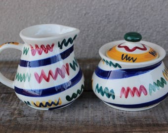 Vintage Hand Painted Gail Pittman Zig Zag Pattern Sugar Bowl and Creamer Set