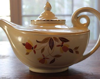 Vintage Hall's Jewel Tea Autumn Lead Aladdin Teapot w/ Lid & Infuser Mary Dunbar
