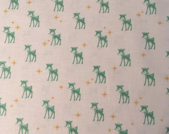 Cozy Christmas White with mint deer fabric by Lori Holt from Riley Blake