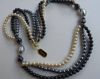 Vintage Carol Dauplaise Multi Strand Luxurious Creamy White, Black and Gray Faux Pearl Necklace