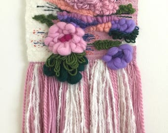 Wall hanging weaving, flower art, bouquet, floral woven tapestry