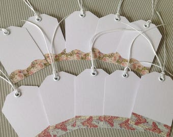 Set of 10 tags. Flowers and butterflies. Set of 41.