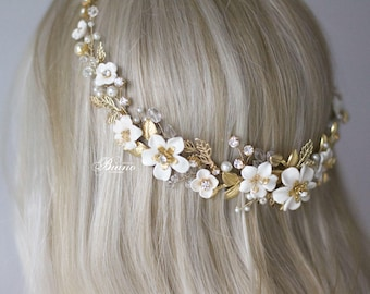 Wedding Headband, Flower Headband, Gold Leaf Tiara,Bridal Back Halo, Bohemian Headpiece, Bridal Headpiece,Wedding Hair Vine, Tiara- VIORELLA