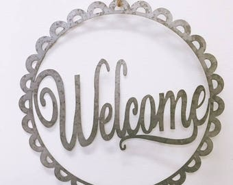 WELCOME sign  - Welcome - Front door sign -  welcome metal sign - porch sign - rustic sign -wreath farmhouse sign- metal decor -