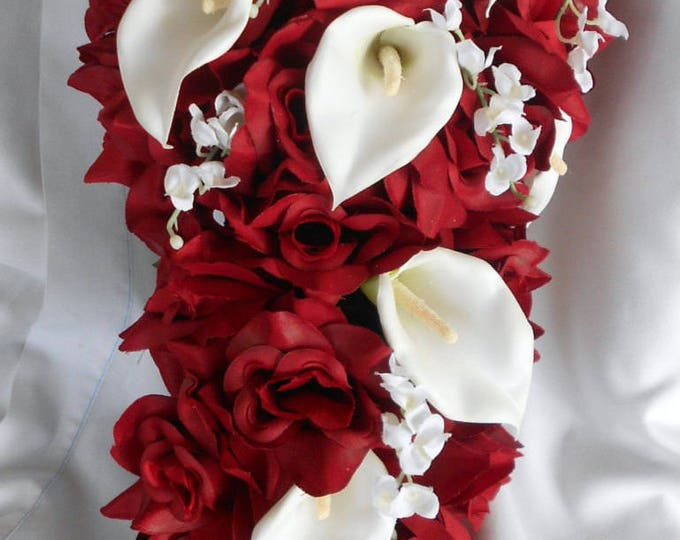 Wedding bridal cascade bouquet red roses calla lilies and lilies of the Valley 2 pieces