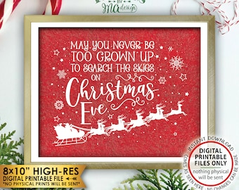 """May You Never Be Too Grown Up To Search The Skies On Christmas Eve, Look for Santa Search, Red Texture PRINTABLE 8x10"""" X-mas Wall Decor <ID>"""