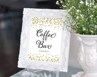 Printable Wedding sign Coffee Bar 8x10 Gold Confetti Coffee Bar Sign DIY Wedding Coffee Bar Table Printable Digital INSTANT DOWNLOAD 300dpi