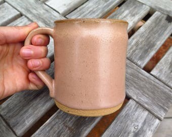 Large Hand Thrown Mug in Desert Peach from the SVEN Ceramics Presidio Line Red Clay, Handmade Pottery Cup, Wedding Registry, Gift,