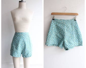Vintage 1950's High Waisted Shorts UK 14 Midcentury goodwood revival fifties daisy dukes pinup original 50's
