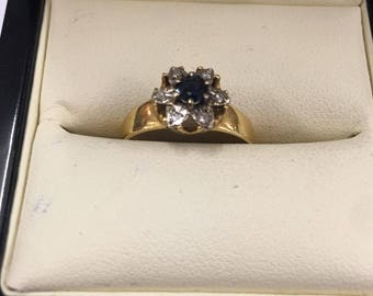 Vintage 18ct Yellow Gold Diamond and Sapphire Flower Ring Size M