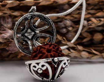 Round locked box with rudraksha, brass silver plated pendant + 24 inches chain, rudraksha pendant, sacred geometry necklace, Amulet necklace