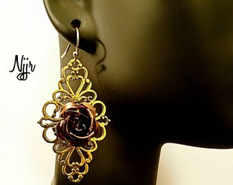 Metallic Rose & Filigree Earrings