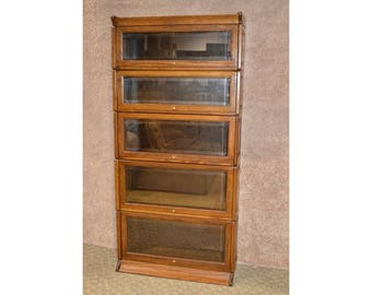 Five Section Oak Stacking Barrister Bookcase w/Beveled Glass