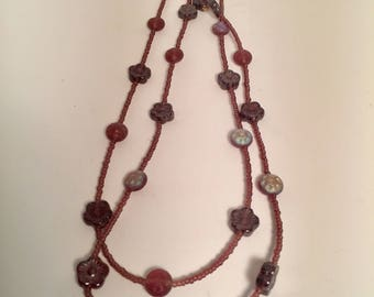 Purple Glass and Crystal Necklace